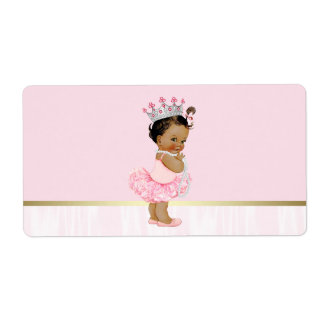 Ethnic Ballerina Tutu Baby Shower Water Bottle Label