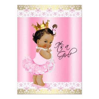 Ethnic Ballerina Tutu Pearl Baby Girl Shower 4.5x6.25 Paper Invitation Card