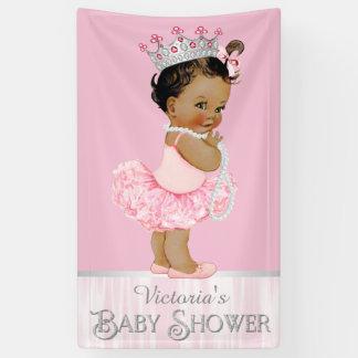 Ethnic Ballerina Tutu Pearl Pink Gray Baby Shower Banner