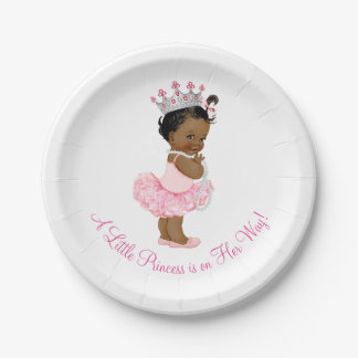Ethnic Ballerina Tutu Pearls Princess Baby Shower Paper Plate