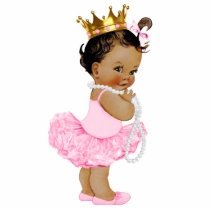 Ethnic Ballerina Tutu Princess Baby Girl Shower Cutout