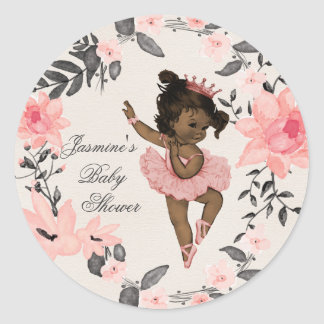 Ethnic Ballerina Watercolor Wreath Baby Shower Classic Round Sticker