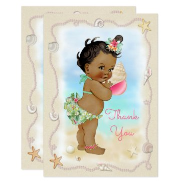 Beach Themed Ethnic Beach Baby Conch Shell Thank You Card