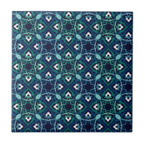 ethnic blue and green flourish tile