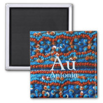 Ethnic Blue and Red Beaded Autism Awareness Magnet