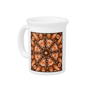 Ethnic Bohemian Mandala orange tiedye Trippy Beverage Pitcher