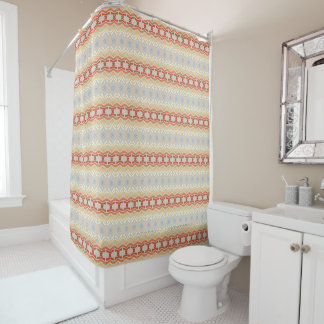 Ethnic Bohemian Style Geometric Pattern Shower Curtain