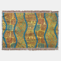 Ethnic Boho African Style pattern on Gold Throw