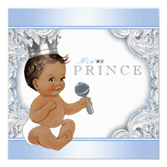 Ethnic Boy Baby Blue Silver Prince Baby Shower Card