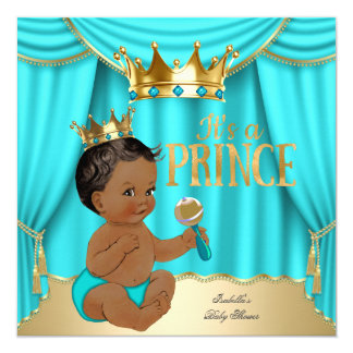 Ethnic Boy Baby Shower Prince Aqua Blue Gold Crown Card