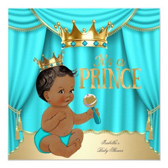 ethnic boy baby shower prince aqua blue gold crown card   zazzle, Baby shower invitations