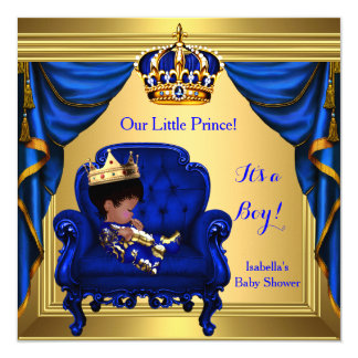 Ethnic Boy Baby Shower Prince Royal Blue Gold Card