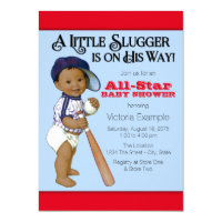 Ethnic Boy Baseball Baby Shower Invitations