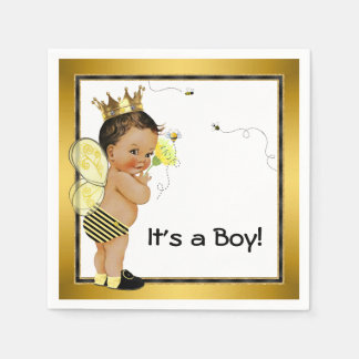Ethnic Boy Bumble Bee Baby Shower Paper Napkin