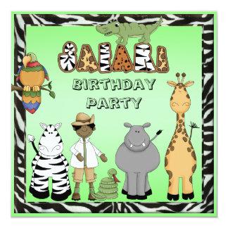 Ethnic Boy & Cute Safari Animals Birthday Party Card