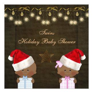 Ethnic Boy Girl Twins Christmas Baby Shower Custom Announcements