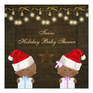 "Ethnic Boy & Girl Twins Christmas Baby Shower 5.25"" Square Invitation Card"