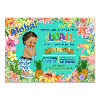Ethnic Boy Hawaiian Luau Birthday Party Card