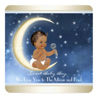 Ethnic Boy Moon and Back Baby Shower Card