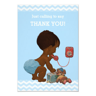 Ethnic Boy on Phone Baby Shower Thank You Card
