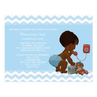 Ethnic Boy on Phone Blue Chevron Baby Book Request Postcard