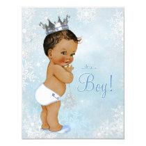 Ethnic Boy Prince Winter Wonderland Baby Shower Card