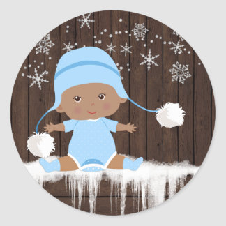 Ethnic Boy Snowflake Baby Shower Stickers