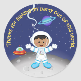 Ethnic Boys Outer Space Birthday Thank You Classic Round Sticker