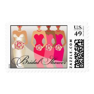 ETHNIC BRIDE Bridal Shower | fuschia Postage Stamps