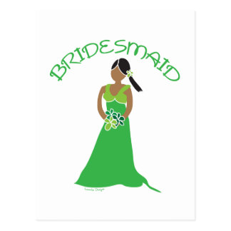 Ethnic Bridesmaid in Green Gifts Postcard