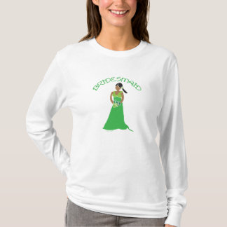 Ethnic Bridesmaid in Green Wedding Party Shirt