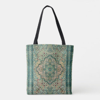 Ethnic Carpet Geometric Floral Design Tote Bag