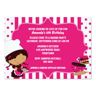 Ethnic Chef Girl's Baking Birthday Party Card