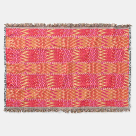 Ethnic Chevron Damask Coral Orange And Pink Throw Blanket Zazzle Interesting Coral Colored Throw Blanket
