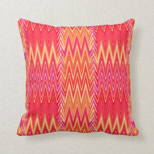 Ethnic Chevron Damask, Coral Orange and Pink Throw Pillow
