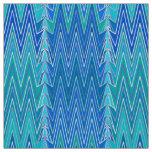 Ethnic Chevron Damask, Turquoise and Blue Fabric