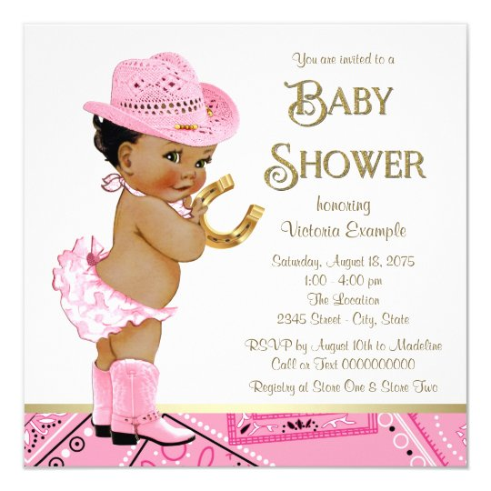 Ethnic Cowgirl Baby Shower Invitation Zazzlecom