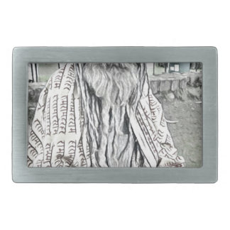 Ethnic design rectangular belt buckle