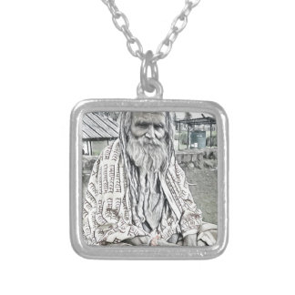 Ethnic design silver plated necklace