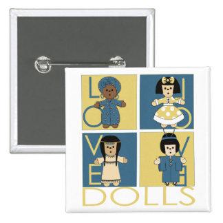 Ethnic Dolls 2 Inch Square Button