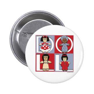 Ethnic Dolls - Red/Blue 2 Inch Round Button