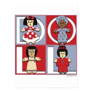 Ethnic Dolls - Red/Blue Postcard