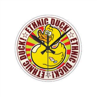 Ethnic Duck Round Clocks