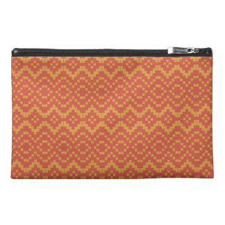 Ethnic Egyptian Red Orange Tribal Basket Weave Travel Accessory Bag