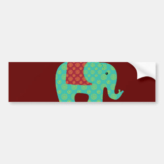Ethnic Elephants with Flowers on Maroon Red Bumper Sticker