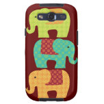 Ethnic Elephants with Flowers on Maroon Red Samsung Galaxy SIII Case