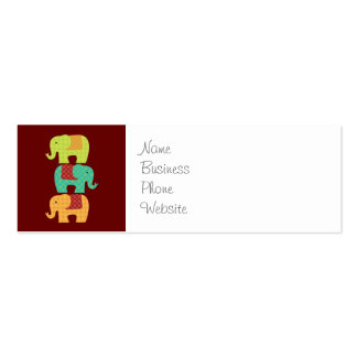 Ethnic Elephants with Flowers on Maroon Red Double-Sided Mini Business Cards (Pack Of 20)