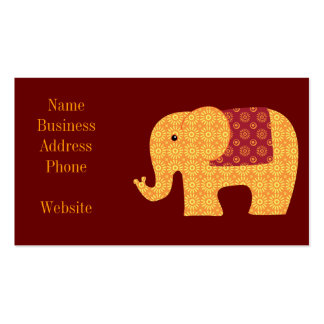 Ethnic Elephants with Flowers on Maroon Red Double-Sided Standard Business Cards (Pack Of 100)