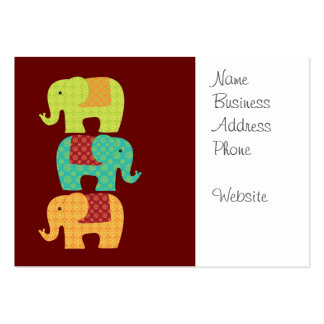 Ethnic Elephants with Flowers on Maroon Red Large Business Cards (Pack Of 100)