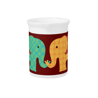 Ethnic Elephants with Flowers on Maroon Red Pitcher